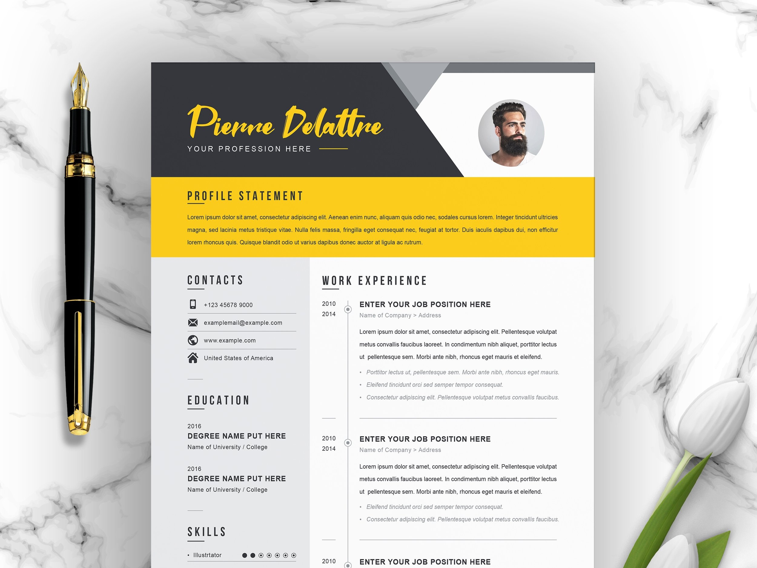 Creative Modern Resume V Template By Resume Templates On Dribbble
