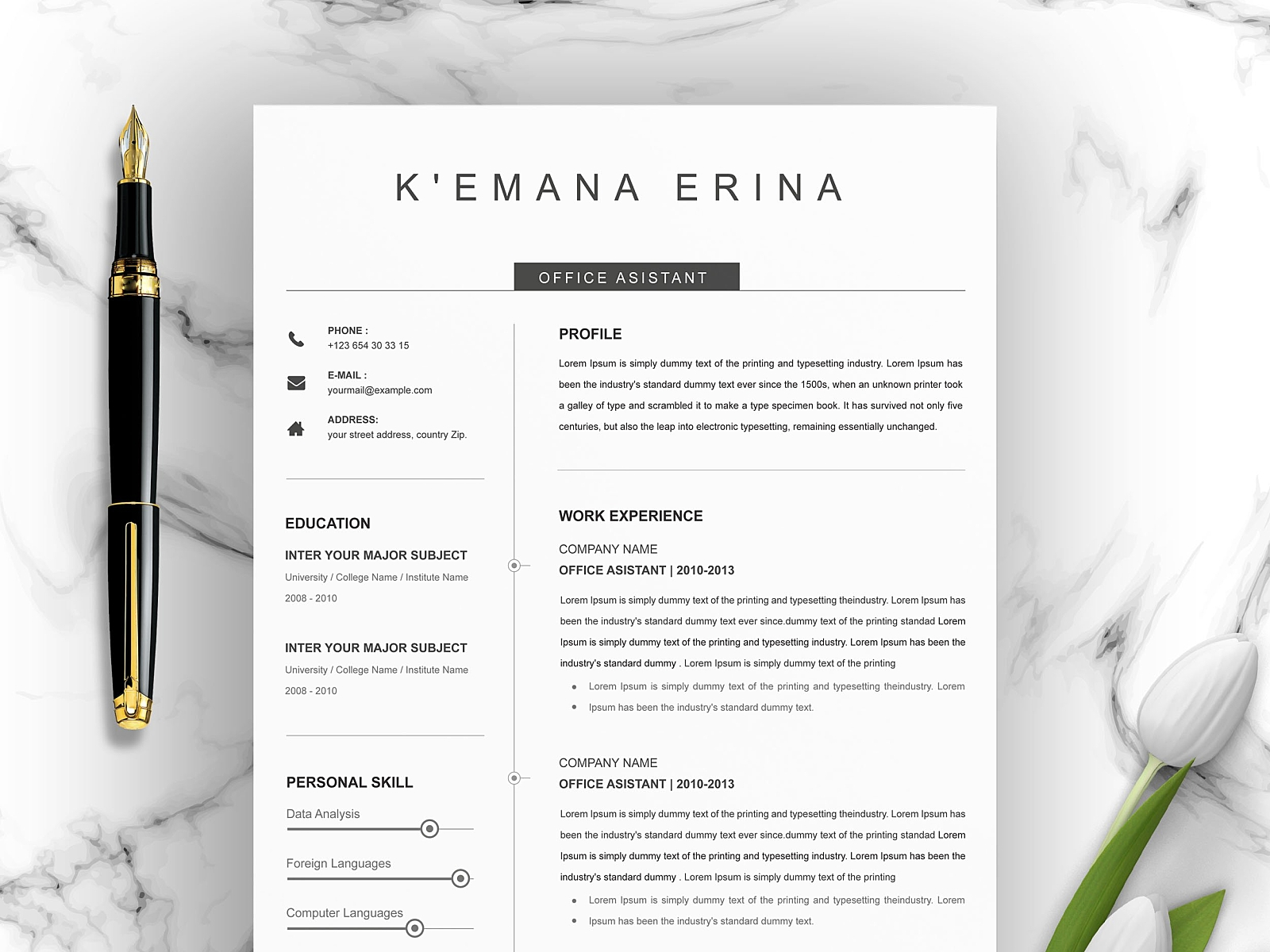 Clean Cv Template Curriculum Vitae By Resume Templates On