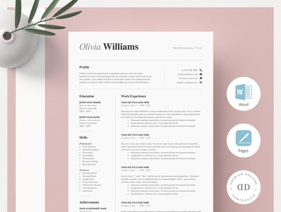 ONE Page Resume Template Kit