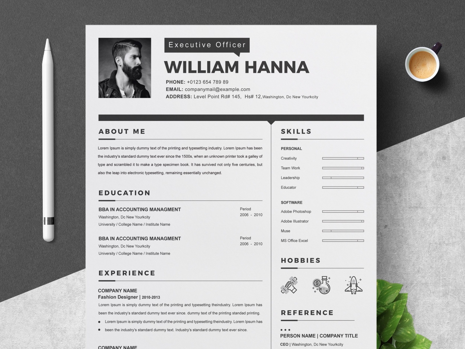 2 Page Resume Template/Cover Letter by Resume Templates on Dribbble