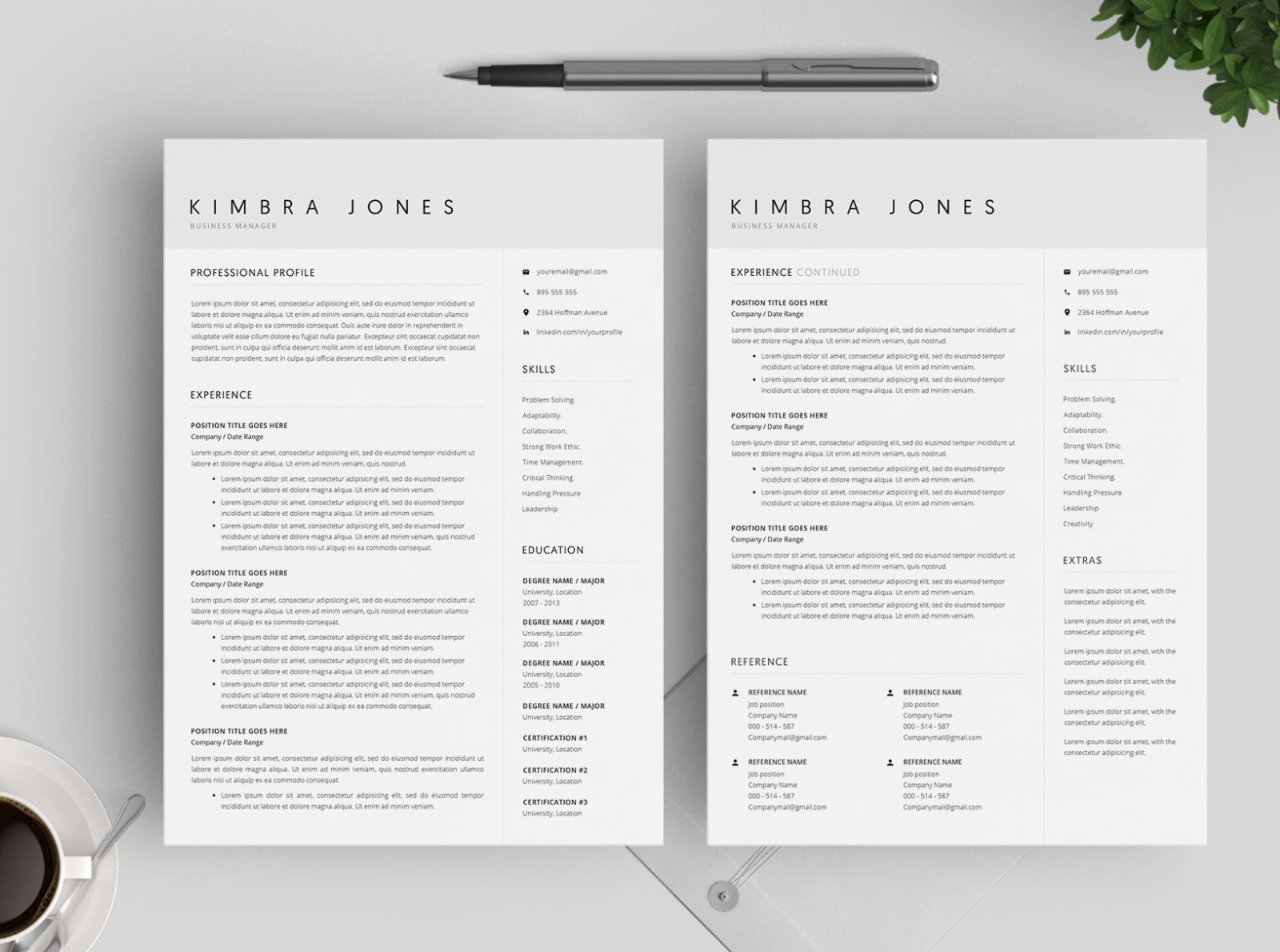 Resume Template And Cover Letter 4 Pages By Resume Templates On