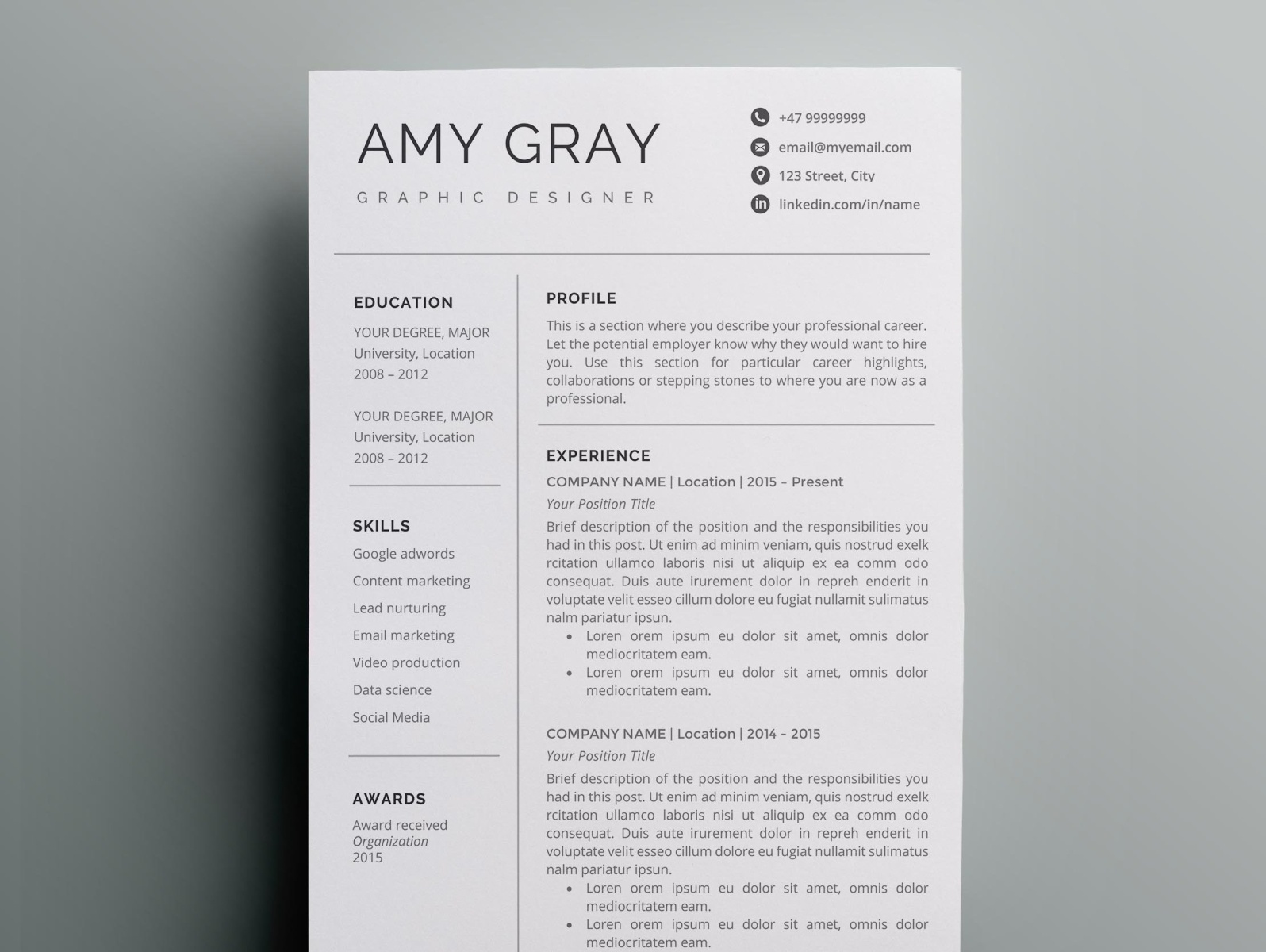 professional resume template    cv by resume templates on dribbble