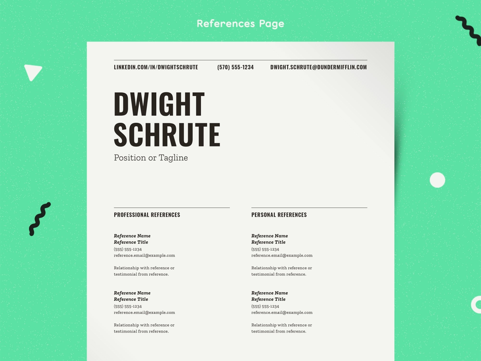 Professional References Template Word from cdn.dribbble.com