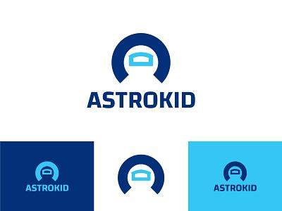 Astrokid logo a logo design space logo head logo astronauts astronaut toys logo kids logo navy blue negative space negative space logo vector blue identity branding illustration playfull identity design brand design branding logo
