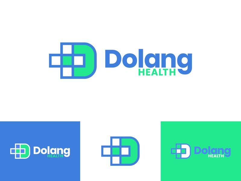Dolang Health pharmaceutical pharmacy medecine dental logomark negative space plus cross health healthcare green blue vector identity branding dailylogochallange identity design brand design branding logo