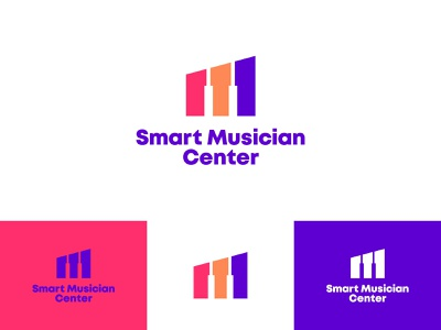 Smart Musician Center blue and red 3 colors spacing negative space musical instrument music player museum identity branding playfull brand song music app piano logo piano musician musical music identity design branding logo