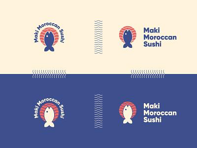 Maki Moroccan Sushi purple logo stamp design logodesign moroccan restaurant sushi roll fishing restaurant branding restaurant logo sushi bar sushi logo fish logo icon illustration playfull logocore dailylogochallange identity design brand branding logo