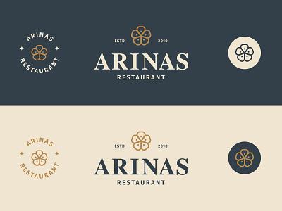ARINAS RESTAURANT identity design brand flower redesign retro restaurant branding restaurant flowers floral illustration design logo branding