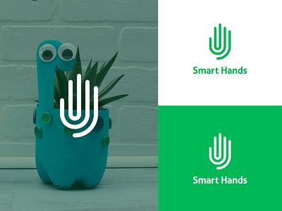 Smart Hands Logo hands fingerprint small business business smart logo design line space icons vector ui typography hand icon playfull identity design logocore logo design branding