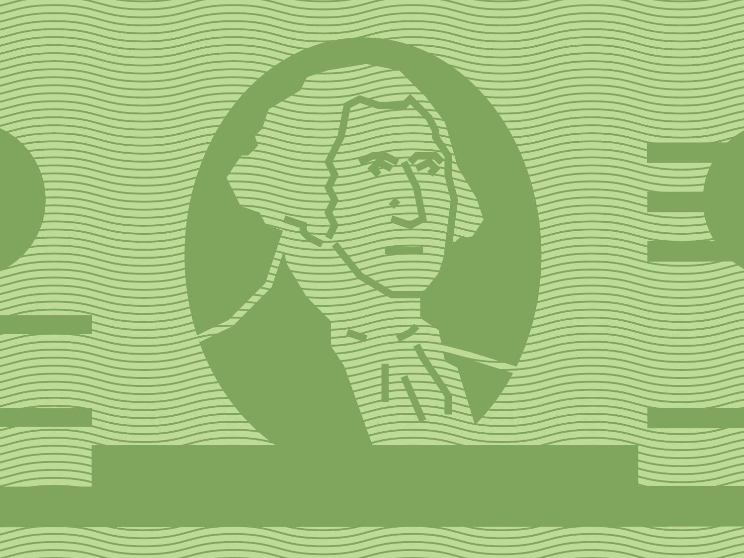 Presidents' Day green pattern portrait illustration money dollar washington george washington