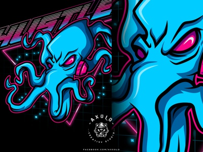 HUSTLER retro alien sea creature octopus futuristic neon cartoon character design vector character illustration icon design branding design branding