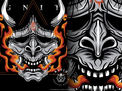 IGNITE shirt design monster japanese oni evil devil vector character illustration icon design branding design branding