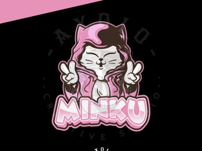 MINKU twitch facebook youtube feminine character design girl gamer cute chibi cat games esport logo esport cartoon vector icon character illustration logo