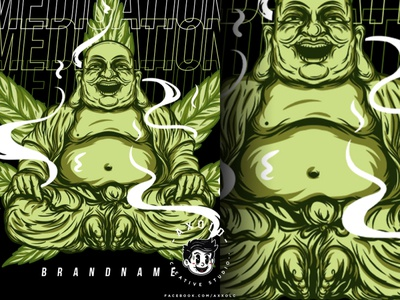 MEDICATION cartoon kush smoke marijuana buddha logo design branding vector character branding design illustration