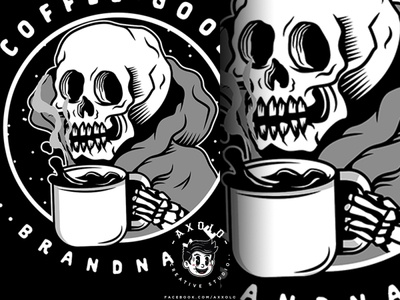 GOOD COFFEE, GOOD SH*T scary caffeine cartoon icon design branding vector branding design character coffe bones illustration