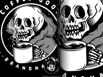 GOOD COFFEE, GOOD SH*T scary caffeine cartoon icon design branding vector branding design character coffe bones illustration