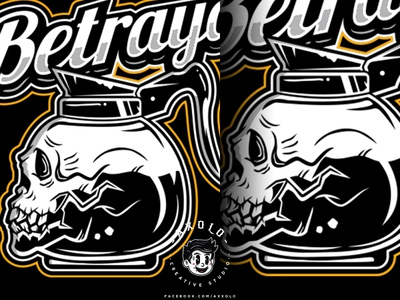 BETRAYAL brew skull art caffeine death bones coffee skull cartoon logo character design icon design branding vector character branding design illustration