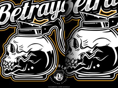 BETRAYAL brew skull art caffeine death bones coffee skull cartoon logo character design icon design branding vector character branding design illustration