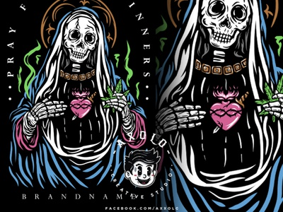 SINNERS PRAYER branding merchandise design idol icon marijuana religion skull bones death urban design streetwear vector character branding design illustration