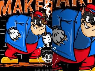TROUBLE MAKER bad boy bad ass wolf trouble disneyland street gang mafia gangster hustle mickeymouse disney cartoon character design design branding character vector branding design illustration