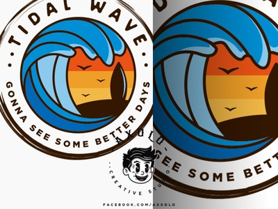 TIDAL WAVES lineart minimal simple silhouette bird sunset beach outdoor summer surf surfing waves logo icon design branding vector character branding design illustration
