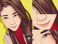 VEXEL PORTRAIT COMMISSION digitalart digital painting cartoon girl portrait vexel vexelart vector illustration