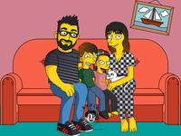 PORTRAITS  4 character simpson design yellow cartoon family portrait portrait family caricature vector illustration
