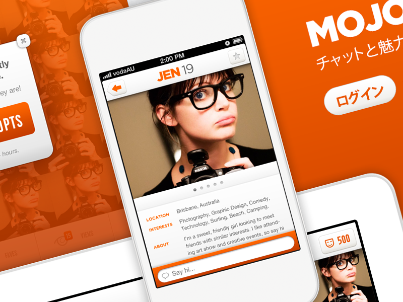 MOJO ui dating app chat messaging iphone ios