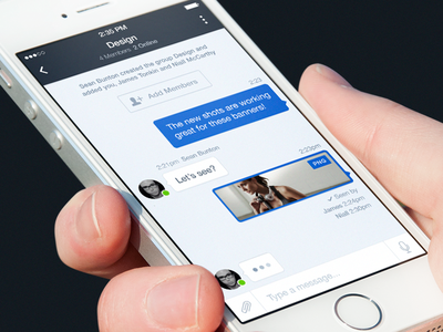 Messaging messaging chat group ios ui blue ios7