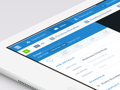 UI ui application ipad interface blue tabs