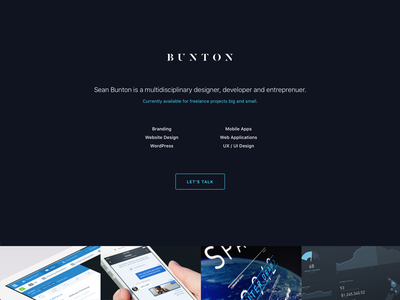 Website Refresh – I'M BACK! onepager portfolio blue minimal clean dark simple website