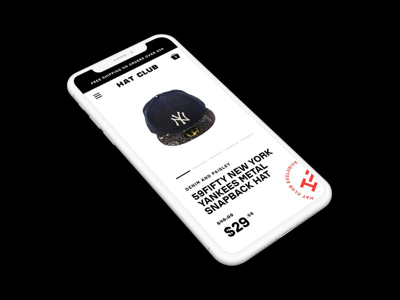 Hats! logotype rebrand dark stamp iphone shopify mobile price store hat product shop ui