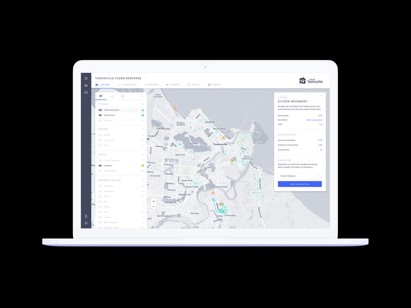 Data Visualisation Map Interface interface map ux ui light macbook data datavisualization datavisualisation simulation city analysis heatmap