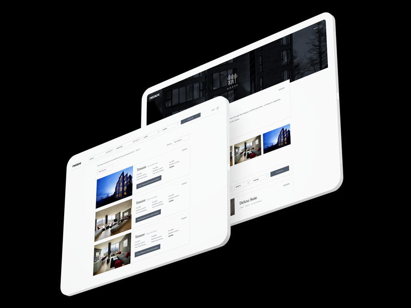 Luxury Hotel Accommodation Search white clean minimal accommodation luxury listings filter list gallery booking ux ui japan apartments property hotel search