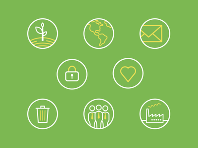 Icon set earth data security business factory bin email heart circle illustration icons iconography