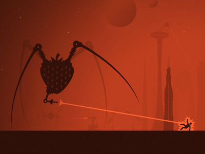 Strawbs Attack space aliens stars buildings futuristic sci-fi city future illustration attack laser strawberry