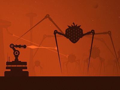 Strawbs Attack #2 space aliens stars buildings futuristic sci-fi city future illustration attack laser strawberry