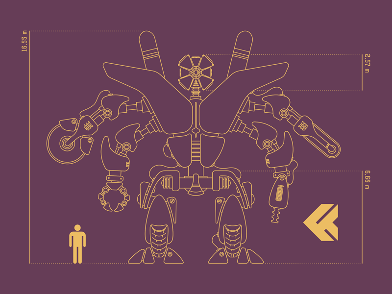 CYBORG // X-6 PROJECT machine concept armory illustration weapon cyborg vector futuristic technology sci-fi future robot