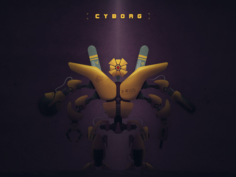 CYBORG // X-6 PROJECT weapon vector robot machine cyborg concept armory technology sci-fi illustration futuristic future