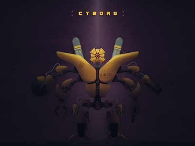 CYBORG // X-6 PROJECT weapon vector robot machine cyborg concept armory technology sci-fi illustration futuristic future
