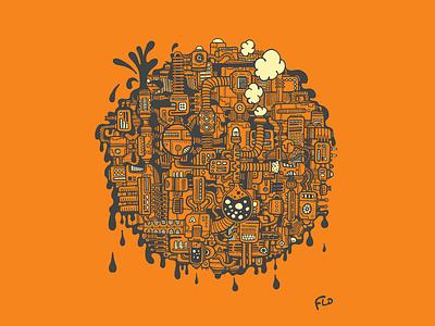 Orange Factory illustrator sketch graphic design illustration pollution steam science machine mecanism factory