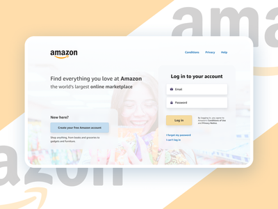 Amazon Login Page Redesign (Dribbble Weekly Warmup) background blur blurred background sign in page sign in sign up signup login screen login page login website design web design webdesign re-design amazon redesign weekly warm-up weeklywarmup