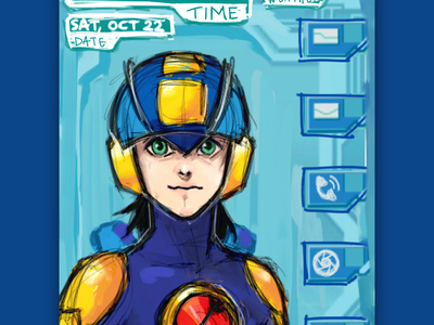 Anime Inspired Futuristic Mobile Assistant UI megaman rough sketch concept app mobile ui ui user inteface anime personal assistant mobile app mobile assistant illustration
