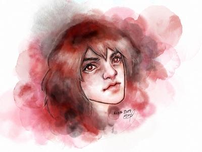 Red Watercolor Girl
