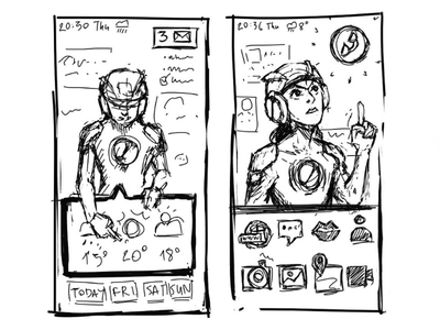 Humanoid Virtual Assistant Homescreen Sketches smartphone ai futuristic virtual assistant assistant mobile ui homescreen rough sketch wire frame wireframe megaman