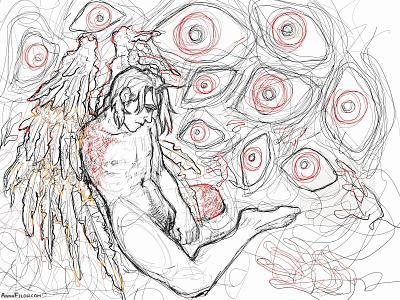 Fallen Icarus eerie creepy manga fanart ipadproart ipad ipadpro adobeillustratordraw adobeillustrator vector black and white illustration
