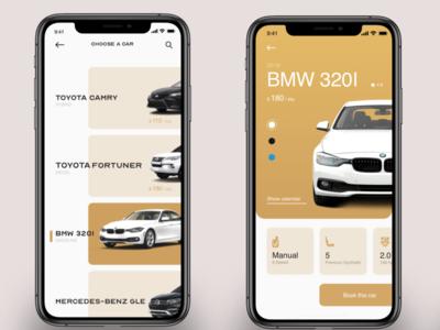 rent a car app concept