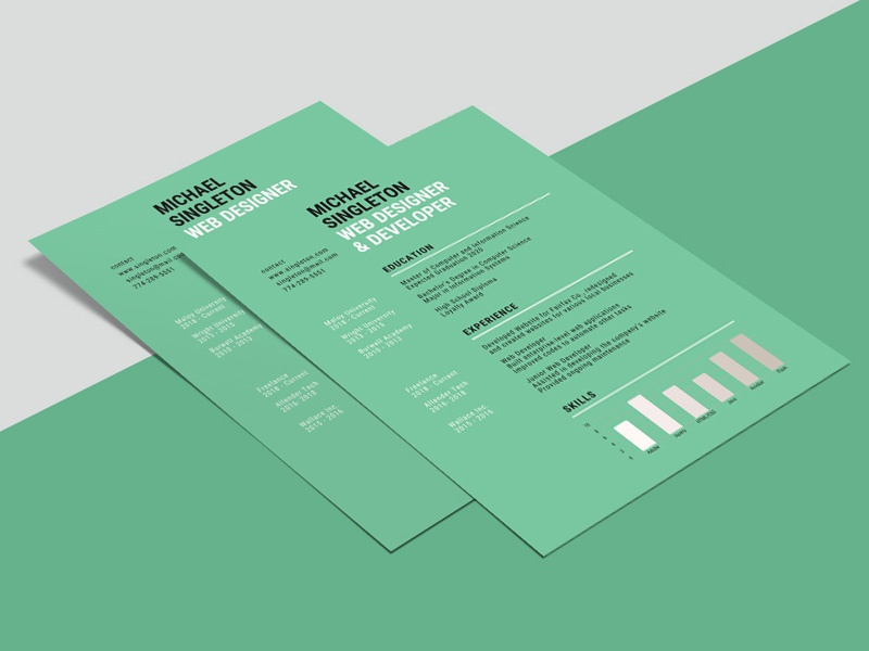 Free Green Background Resume Template By Steven Han Dribbble
