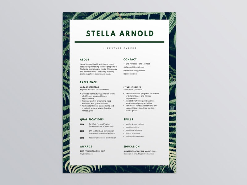 Green Health Photo Resume Template By Steven Han Dribbble Dribbble