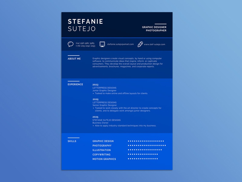Free Blue Infographic Resume Template By Steven Han Dribbble